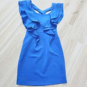 Freshine royal blue ruffle sleeve mini dress sz S